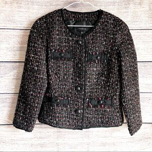 Talbots Wool Tweed Black Red Gray Blazer